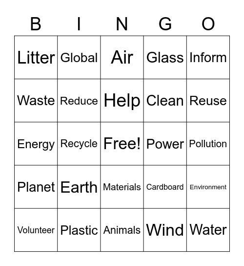 Earth Day BINGO Card