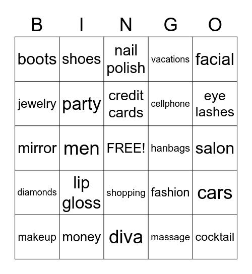 Diva Bingo, Cruisin Divas Bingo Card