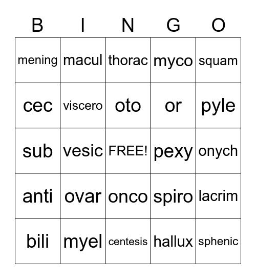 Medical Terms Bingo Card