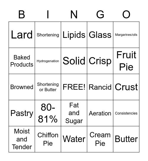 Baking Bingo Card