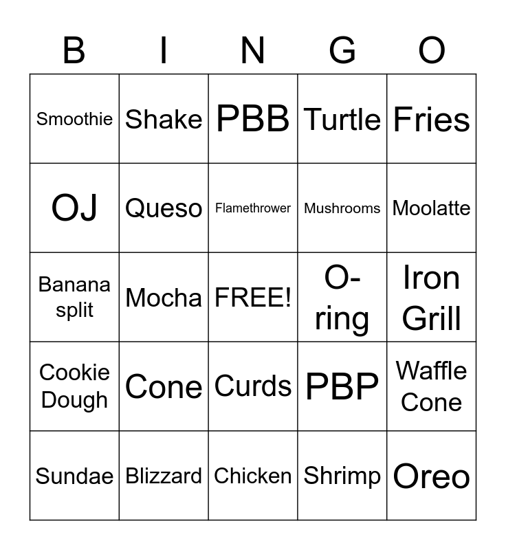 Food Bingo Card