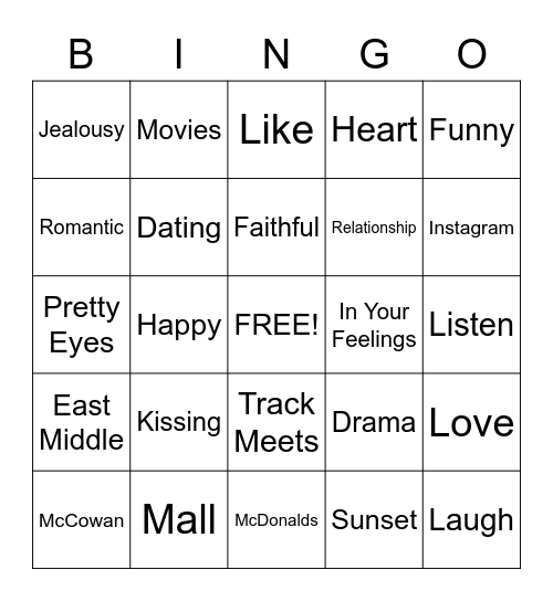 Boyfriend Bingo Card