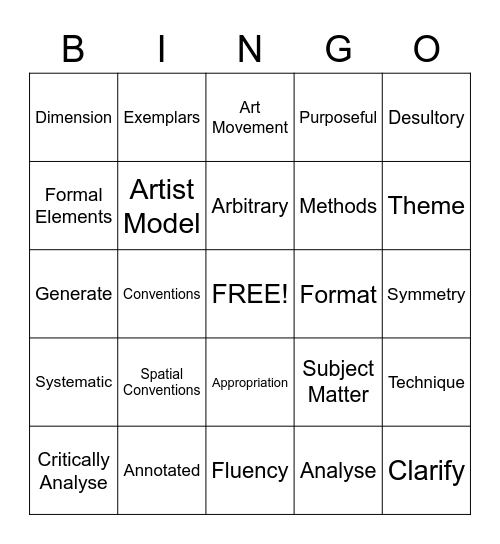 Senior Art Lingo Bingo Card
