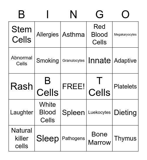 Immune System Bingo Card