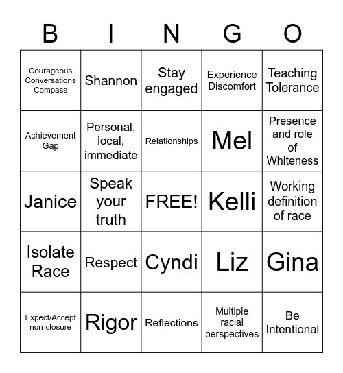 Courageous Conversations Bingo Card
