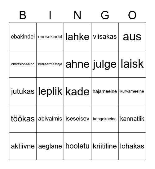 Iseloomu omadused Bingo Card