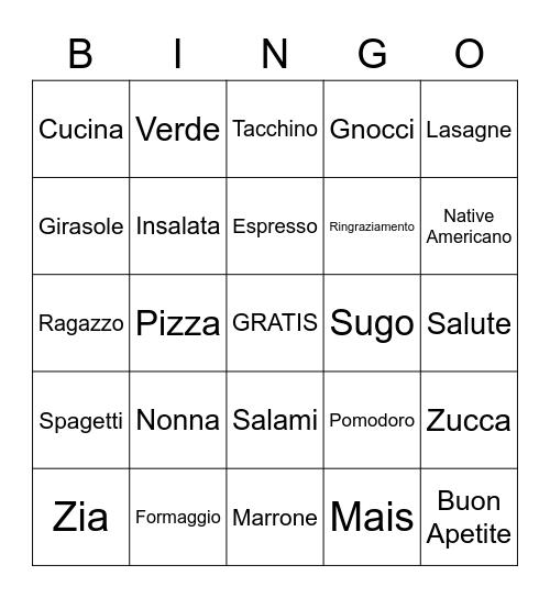 Italian Bingo! Bingo Card
