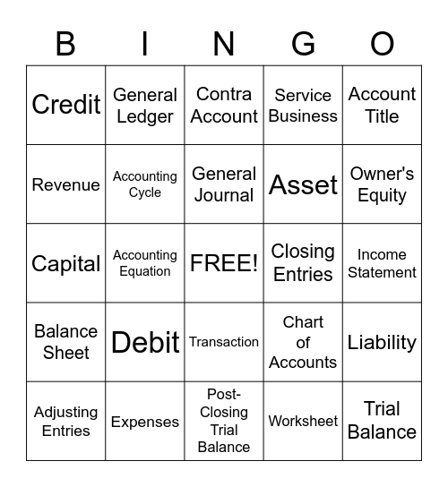 Accounting Bingo Card