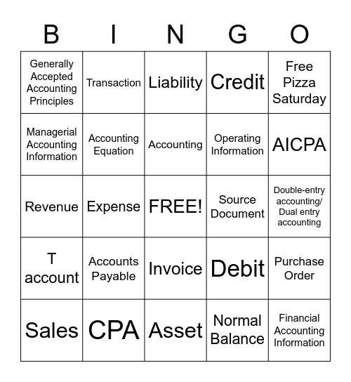 Accounting Terminology Bingo Card