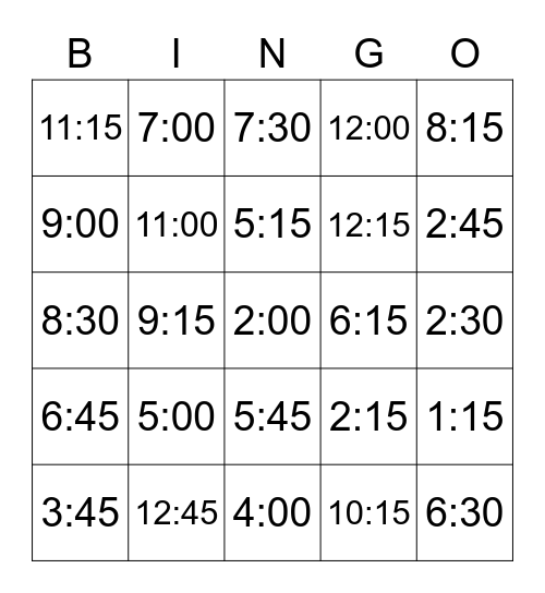 TELLING TIME-NUMBERS ONLY Bingo Card