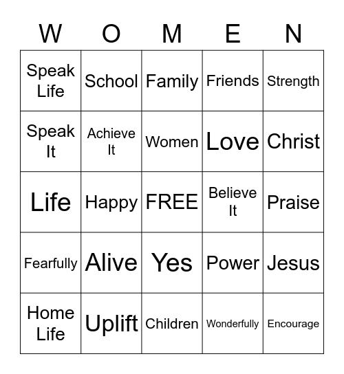Empowerment Bingo Card