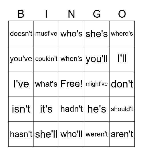 Contraction Bingo Card