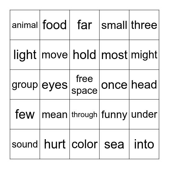U5 HF WORDS Bingo Card