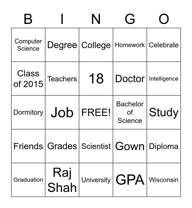 School Life Bingo Card