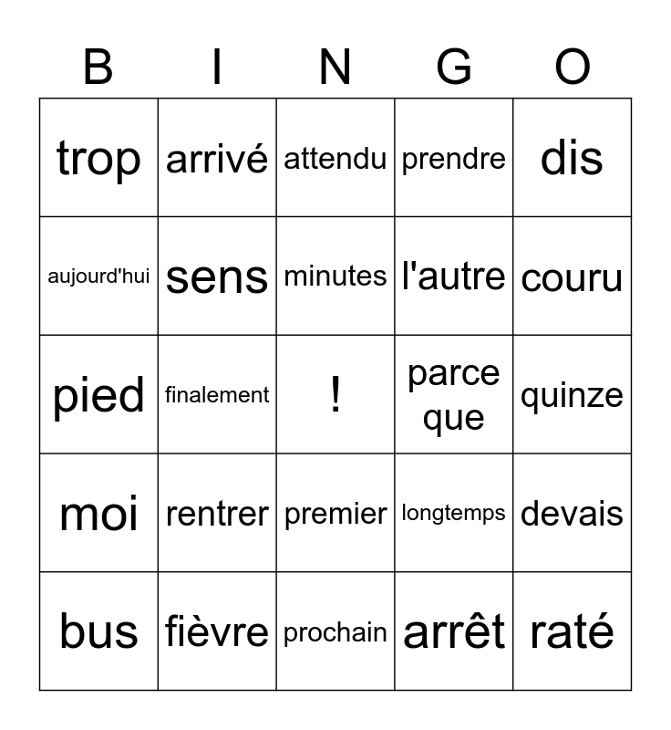 French Words Bingo Card