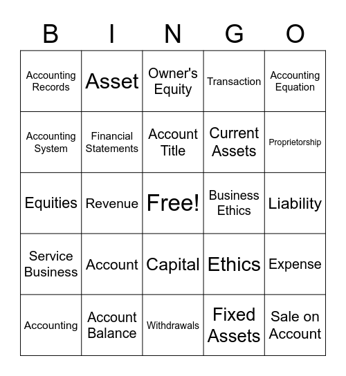 Accounting Bingo Card