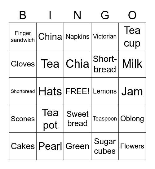 Tea party Bingo Card