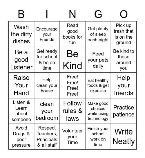 RESPONSIBILITY Bingo Card