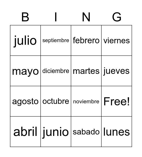 El Calendario Bingo Card