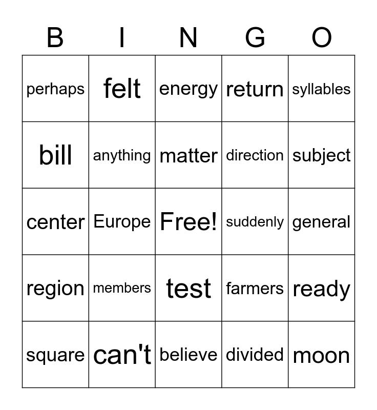 Vocabulary Bingo Card