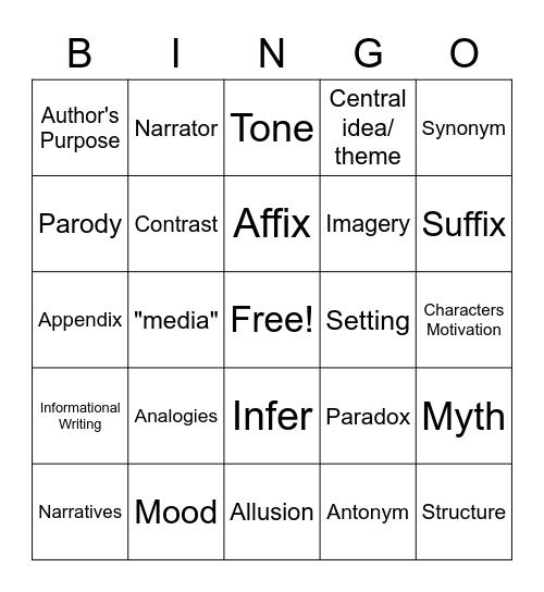 Writing Bingo Card