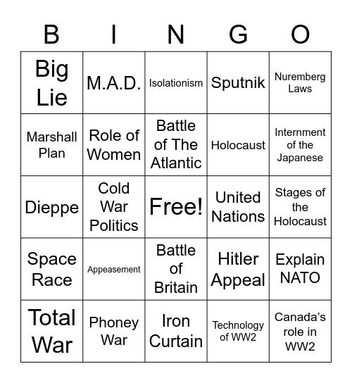 World War 2 Bingo Card