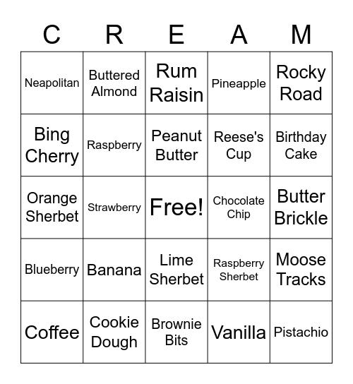 Ice Cream Bingo! Bingo Card