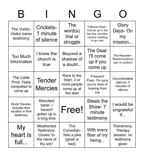 Testimony Bingo Card