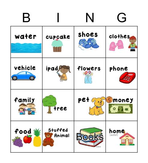 Wants and Needs Bingo Card