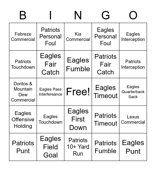 2018 Super Bowl Bingo Card