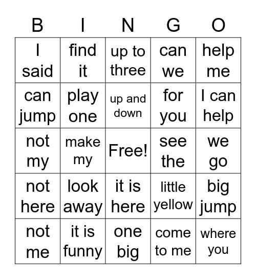 Phrases Bingo Card