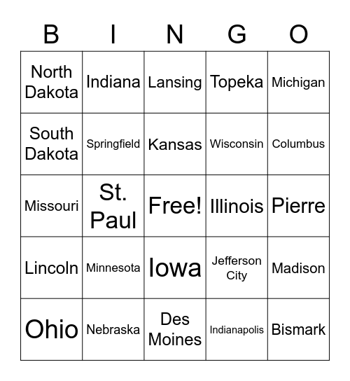 North Central and Plains States Bingo Card