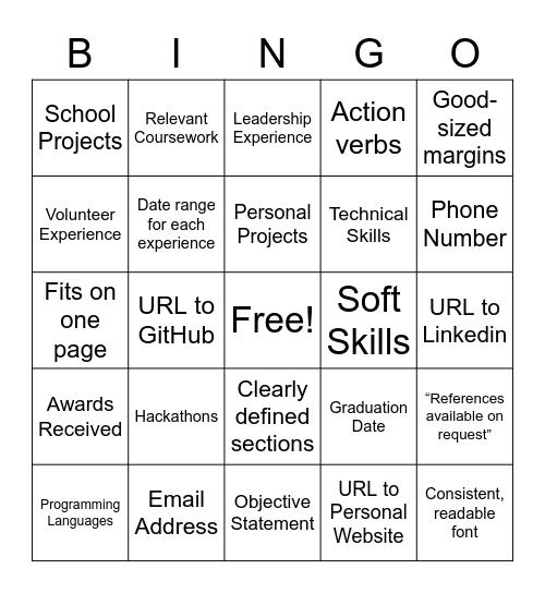 Microsoft Resume Bing-O(h), Mic Bingo Card