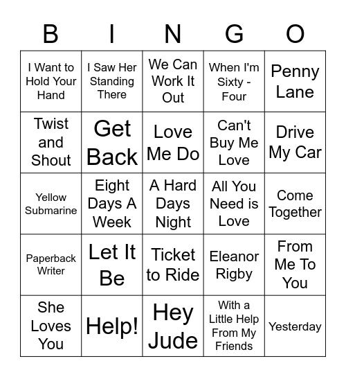 Beatles Songs Bingo Card
