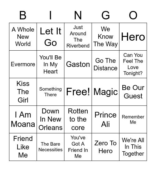 Disney Music Bingo! Bingo Card