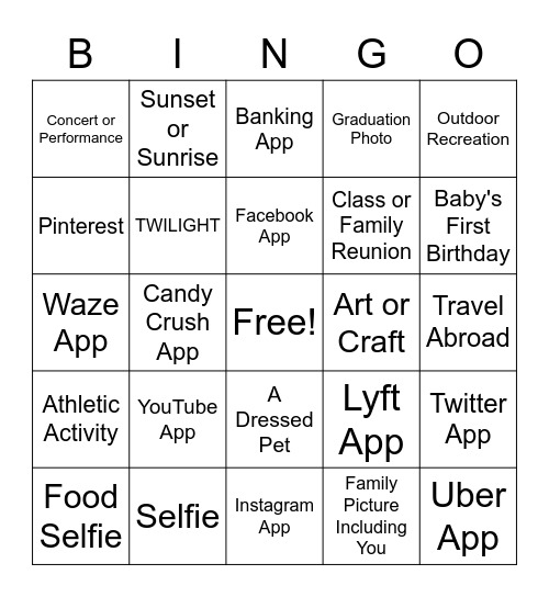 Cell Phone Bingo Card