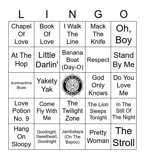 50's & 60's Music Bingo Card