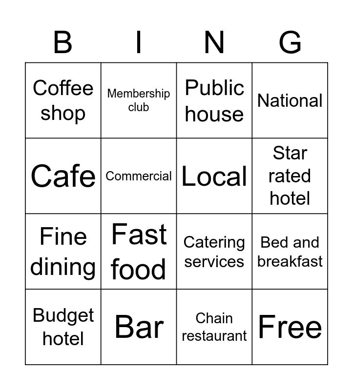Hotel Bingo Card