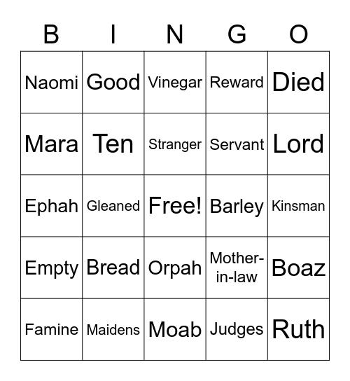 Bible Bingo, Ruth And Naomi Bingo Card