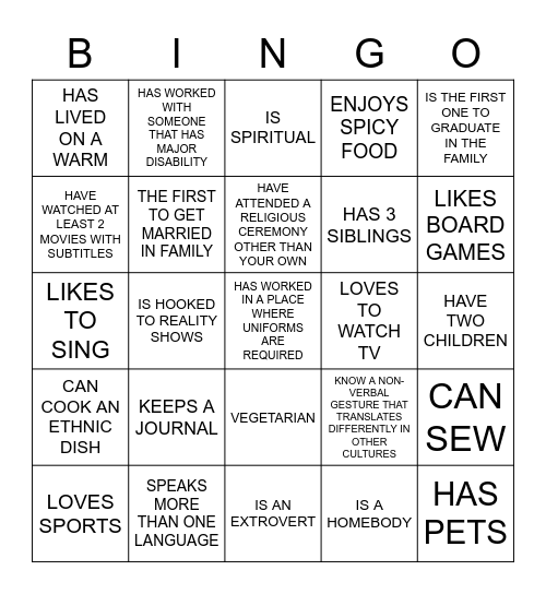 DIVERSITY & INCLUSION-GETTING TO KNOW YOU.. Bingo Card