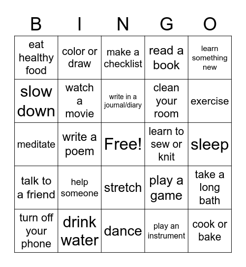 Self-Care Bingo Card