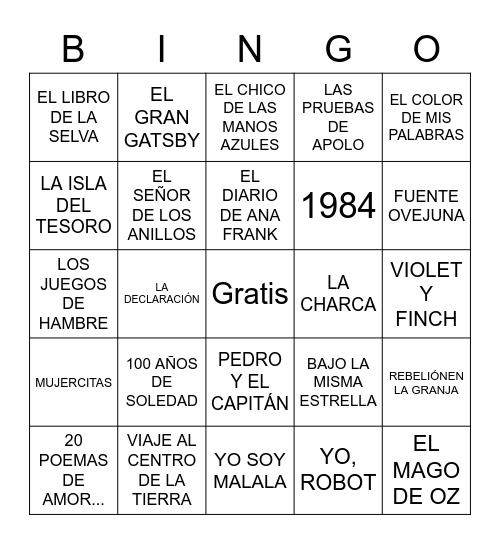 Bingo literario Bingo Card