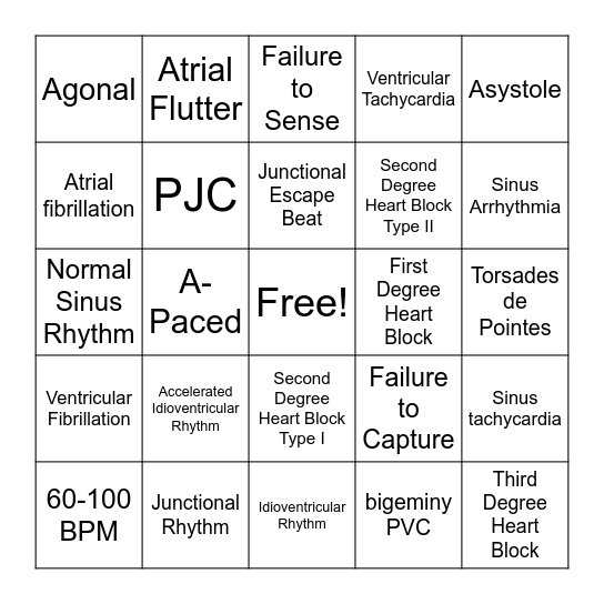 EKG Bingo Card