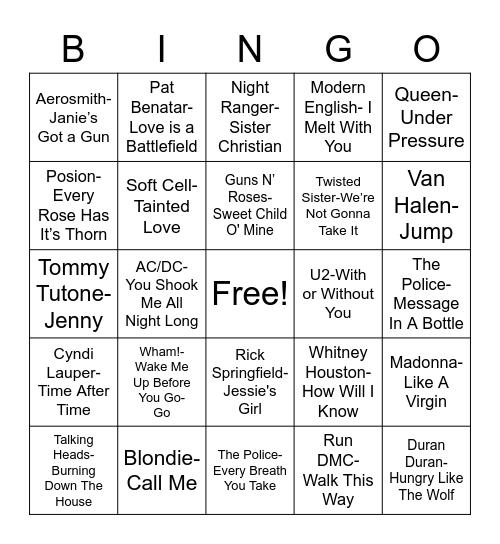 Total Quiz presents Radio Bingo: 80's Music Bingo Card
