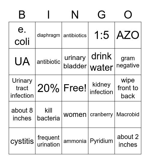 U.T.I Bingo Card