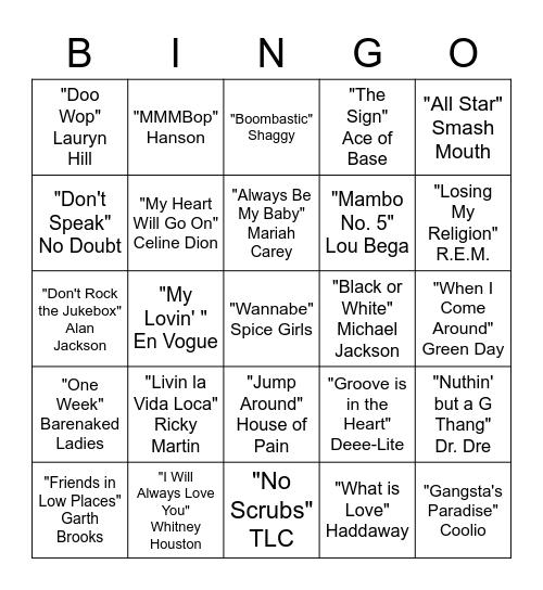 90's Bingo Card