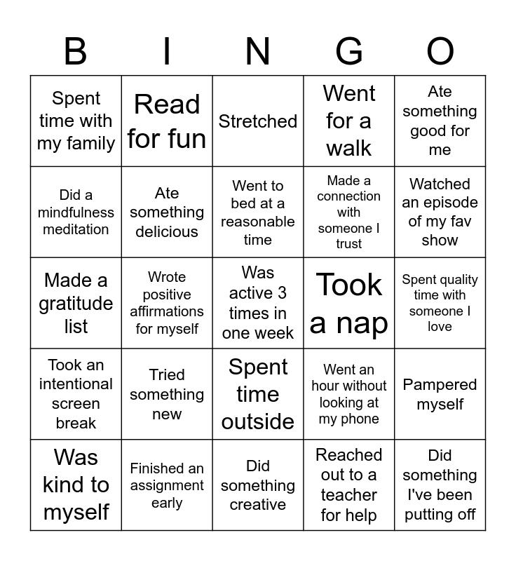 Online School Self Care Bingo Card