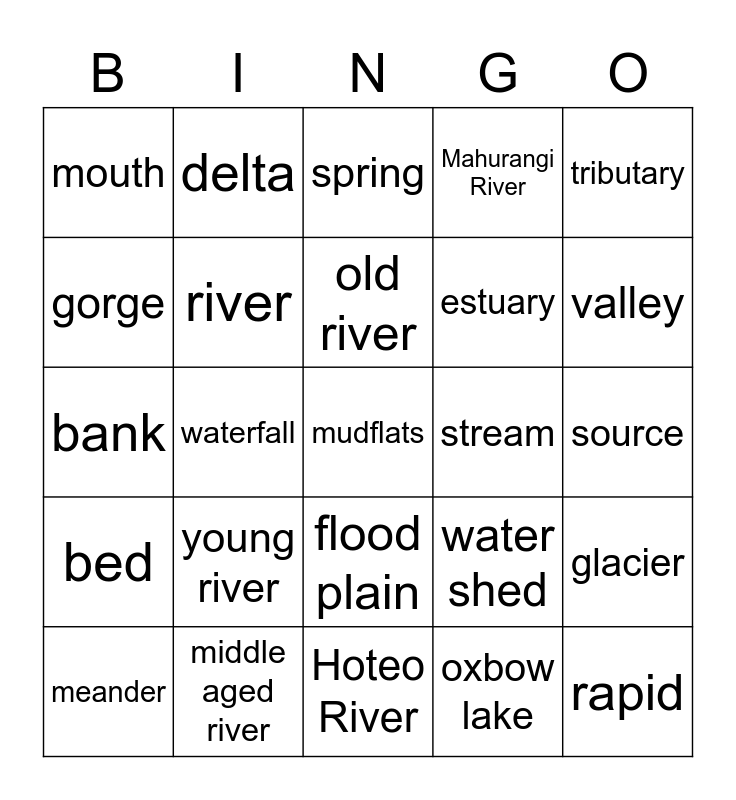 Rivers Bingo Card