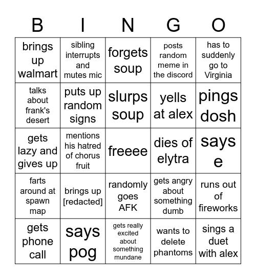 Eman on ravcord bingo Card