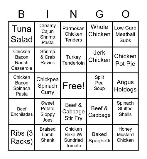 Dinner Bingo! Bingo Card
